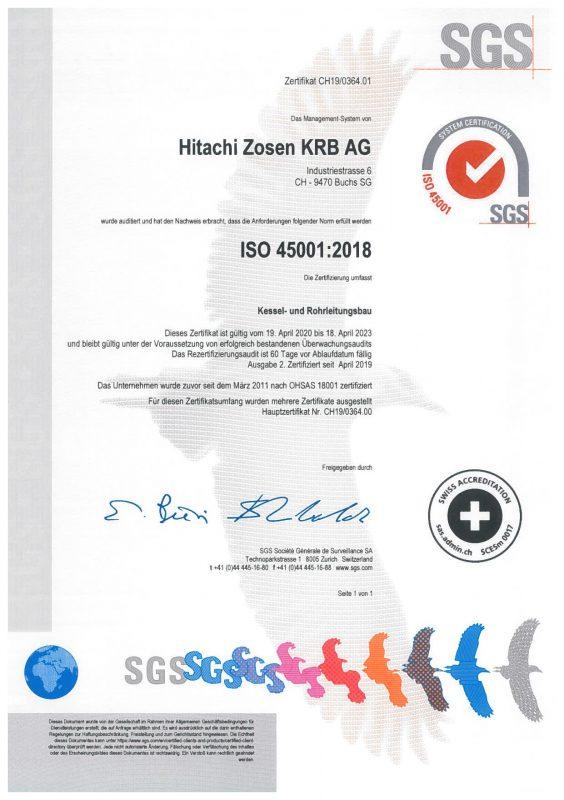 ISO 45001 Zertifikat
